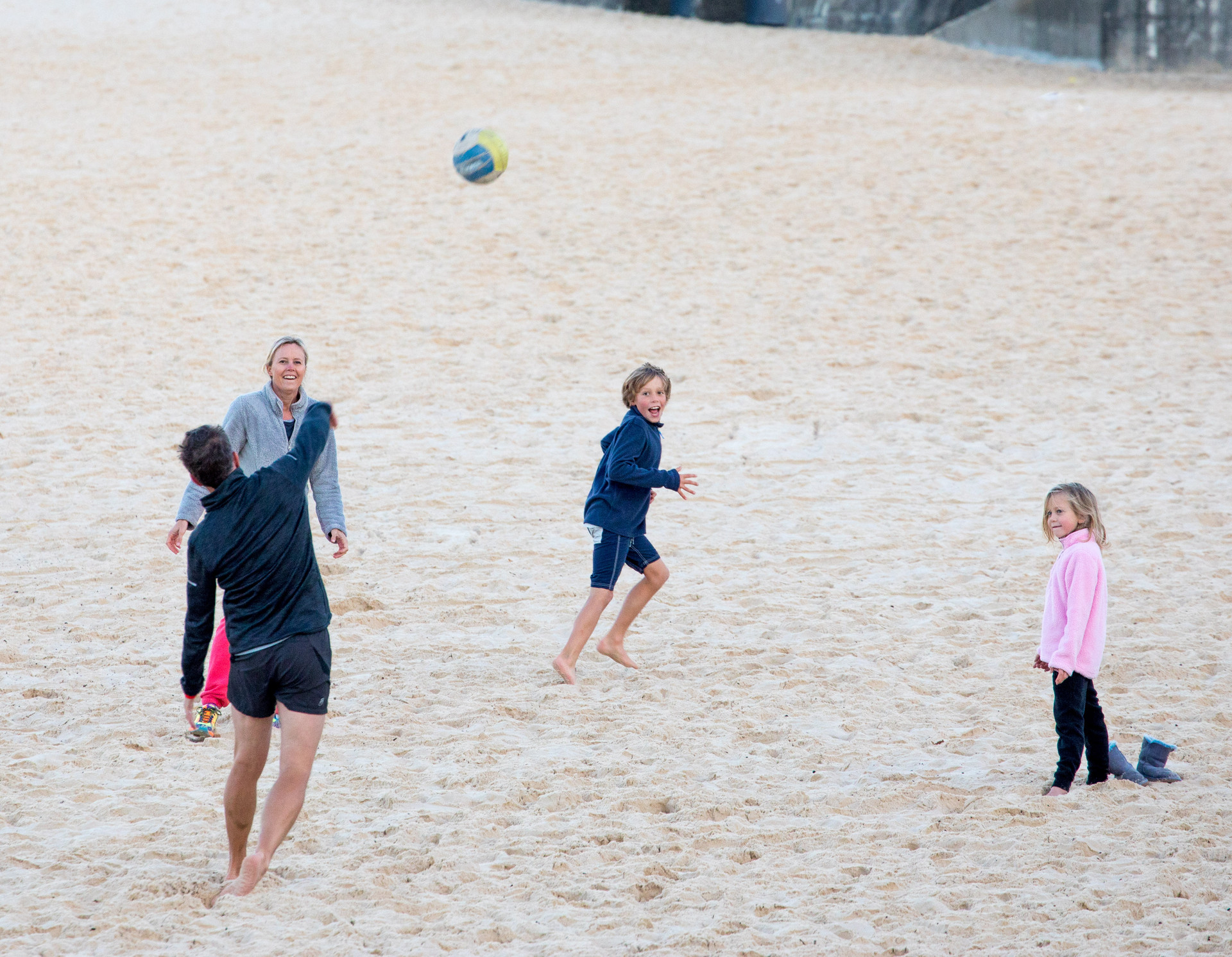 family ball on Bondi Beach
