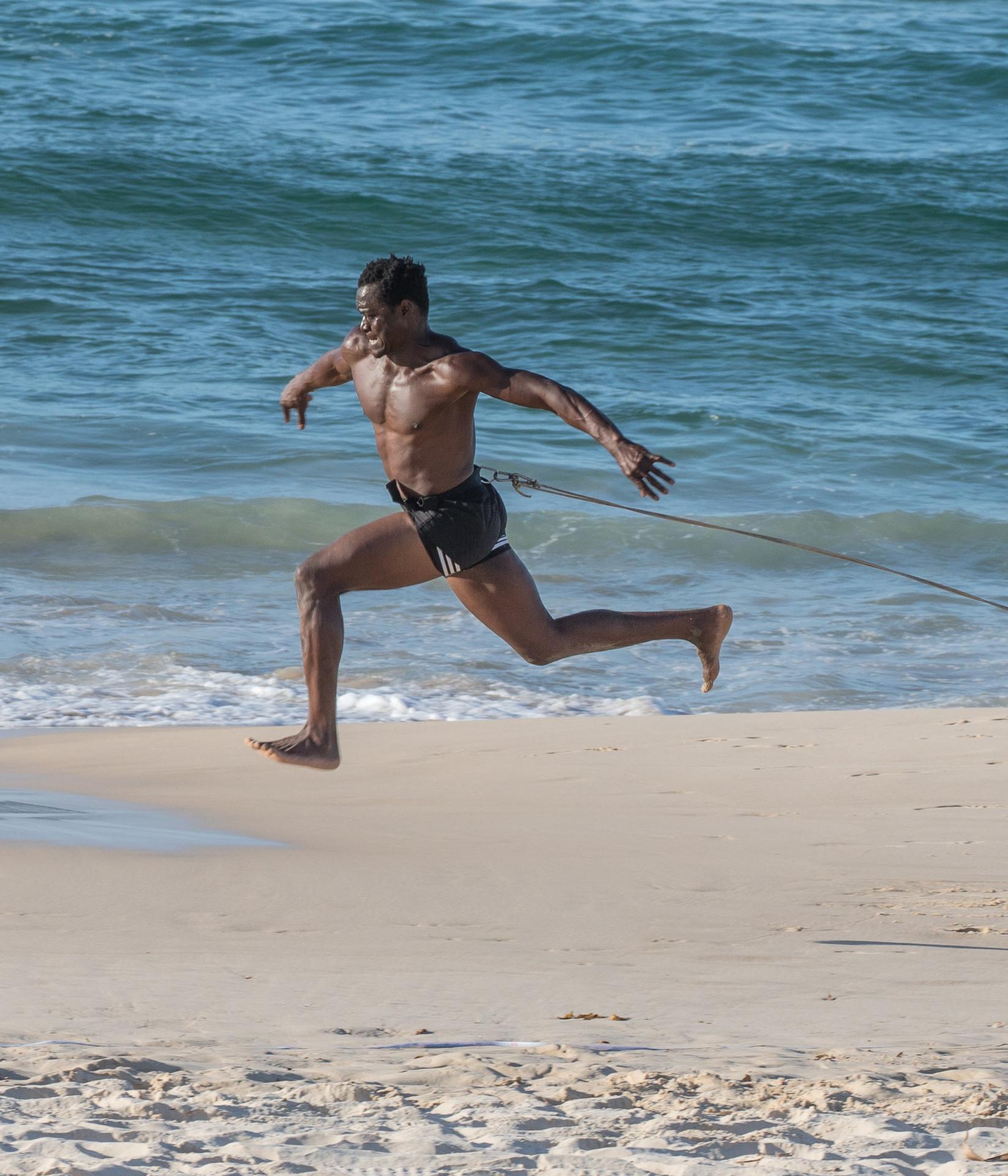 leaping on Bondi Beach