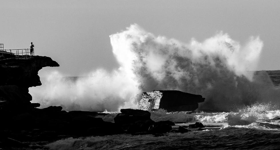 splash over rock, north Bondi