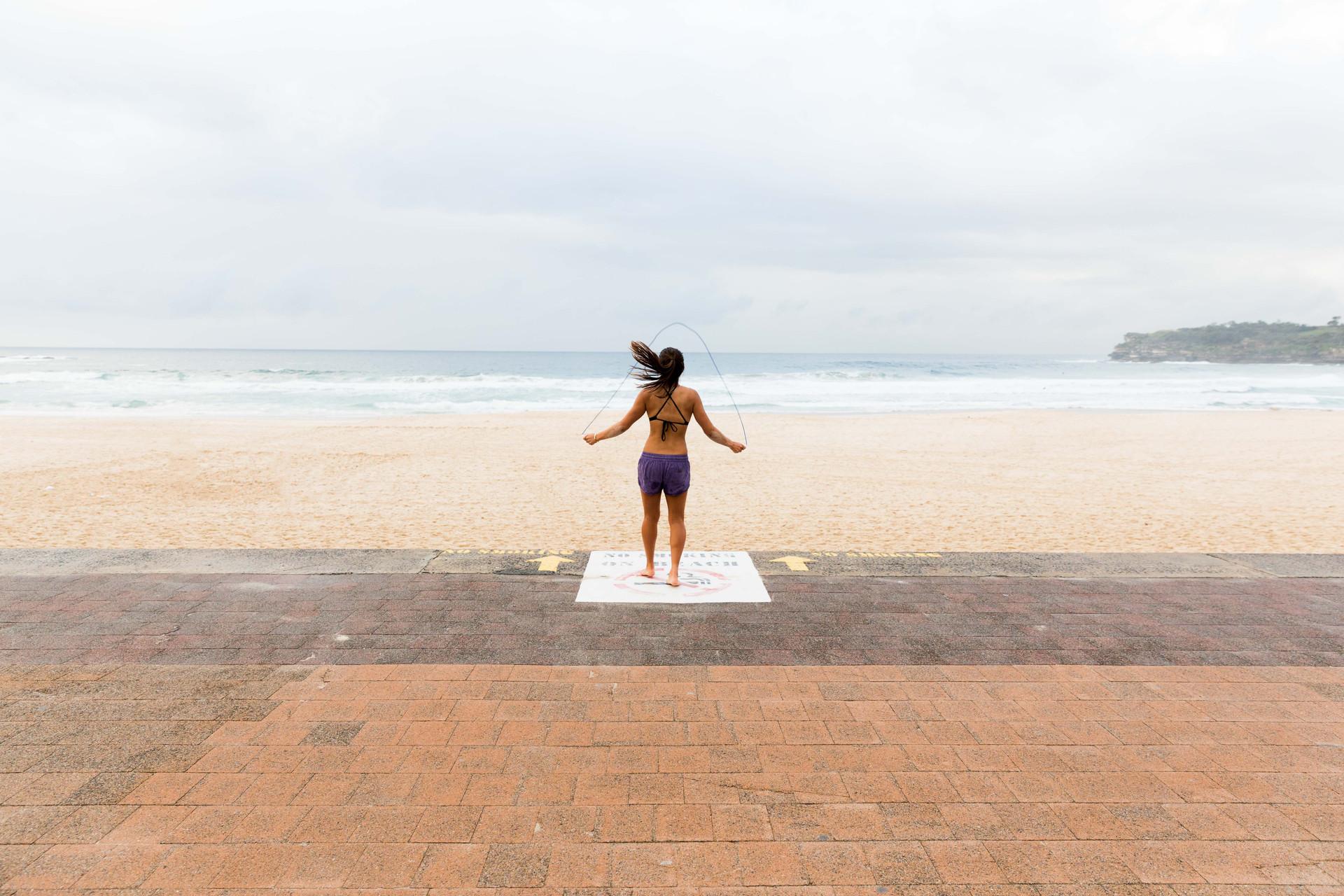 skipping on Bondi beach