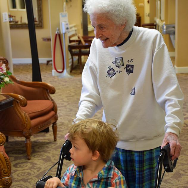 Visting Gram with Liam in 2014