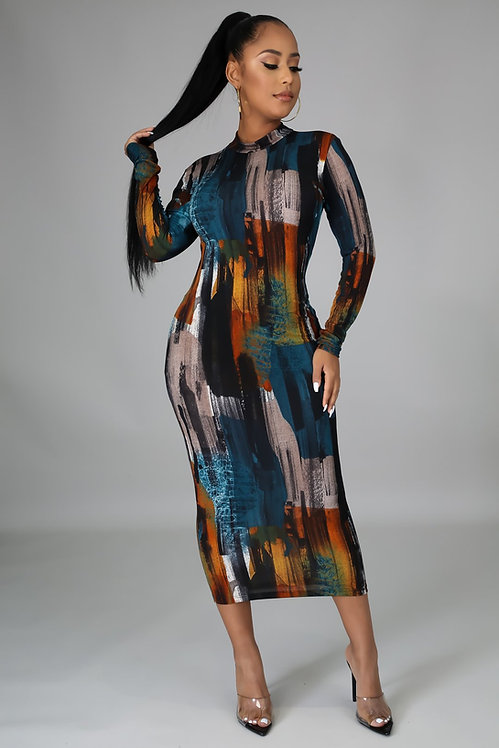 Marble midi dress
