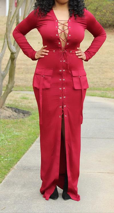 Burgundy long line maxi dress