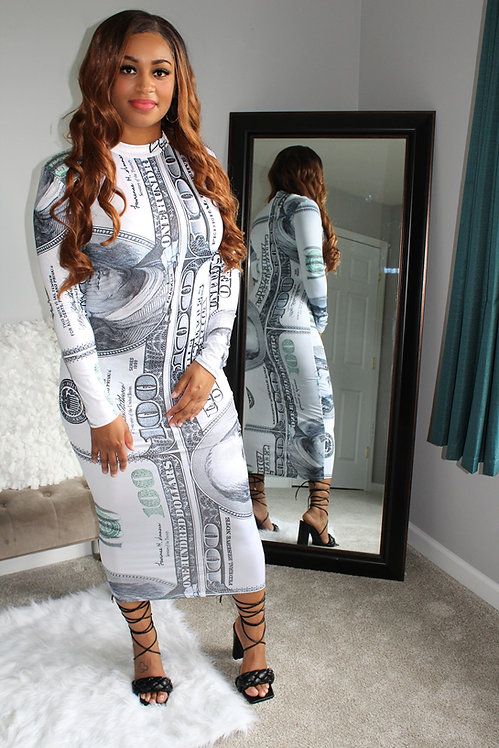 Money moves midi dress