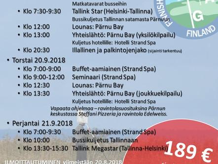 Tervetuloa FGA:n mestaruuskilpailuihin -  Pärnu Bay Golf Links 19.–21.9.2018
