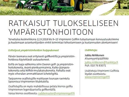 Hankkija: Esittelyssä ympäristönhoidon huippukoneet 12.9.2018 klo 9–15 Virpiniemi Golfissa