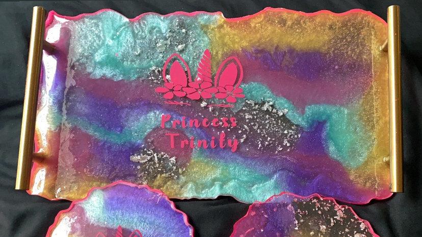 Unicorn Themed Vanity Tray set with 2 matching coasters.