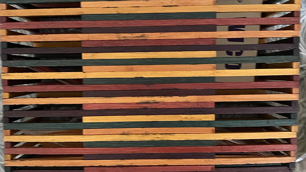 Multi-colored bamboo handbag clutch