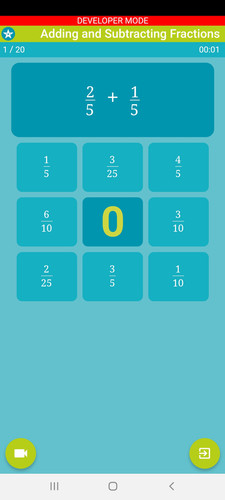 Mobile App - Adding and Subtracting Fractions