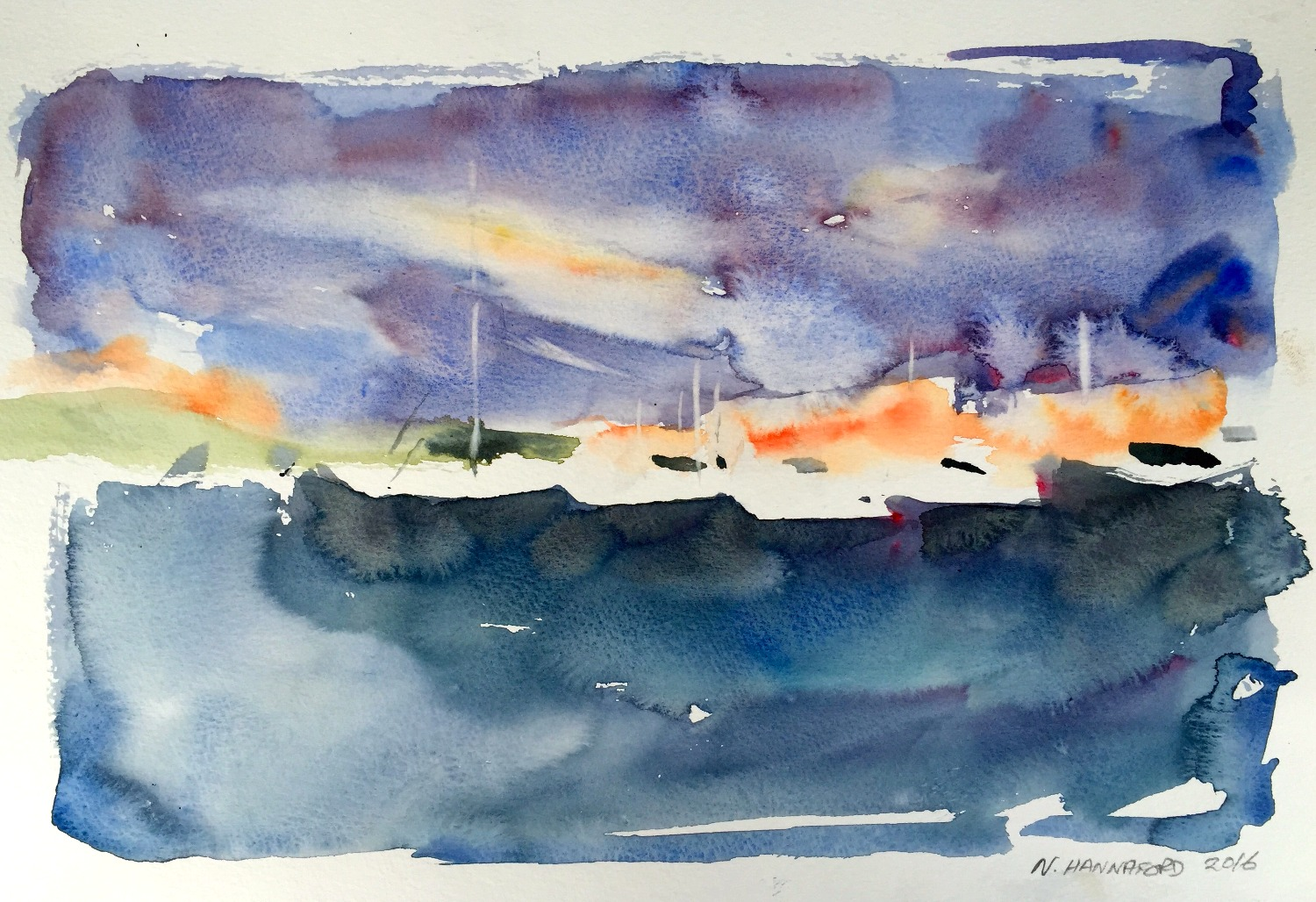 Boats in harbor - watercolour,print.