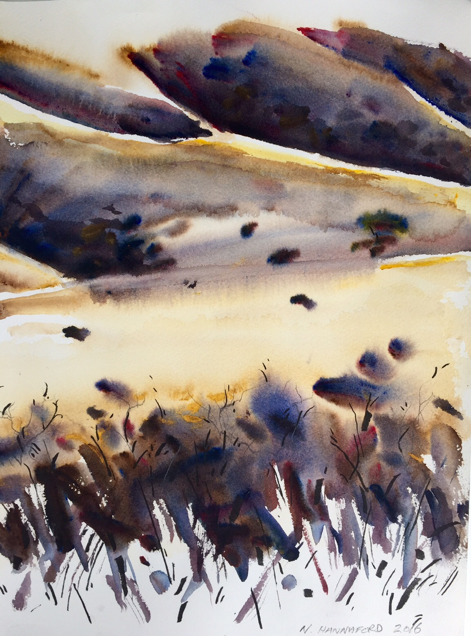 Light on the hills - watercolour