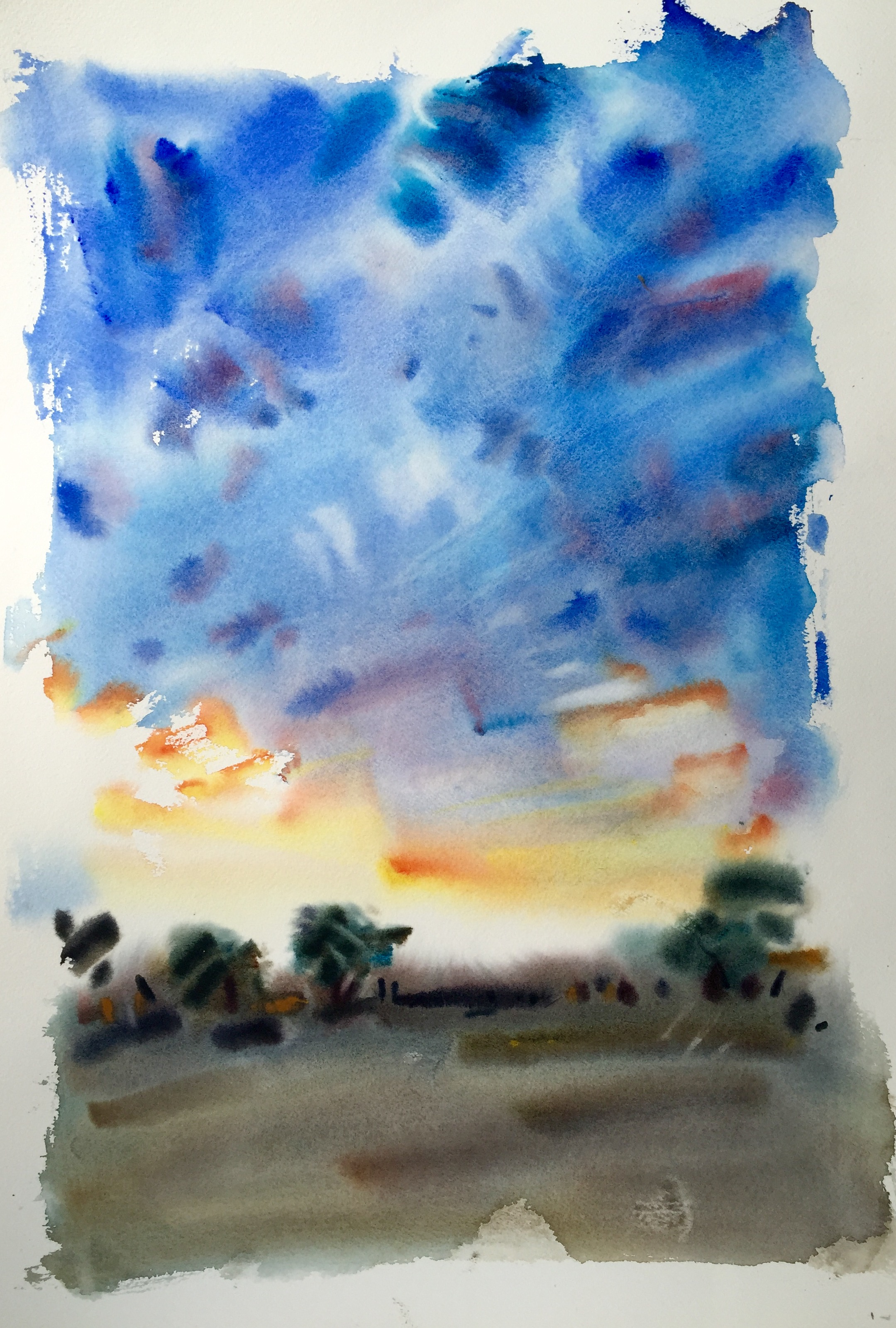Early sunset - watercolour