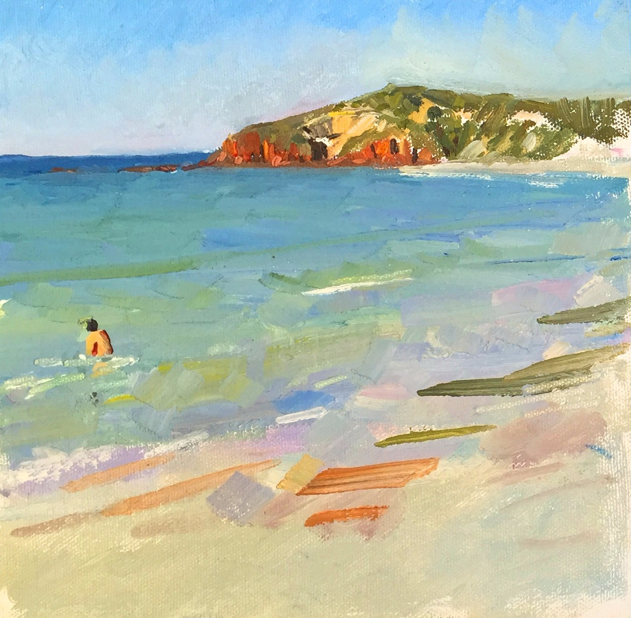 Beach with swimmer - oil