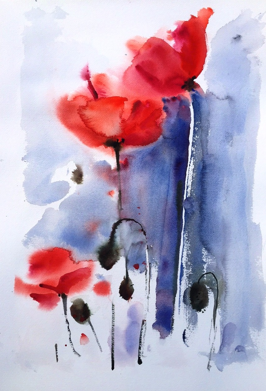 Poppies - watercolour