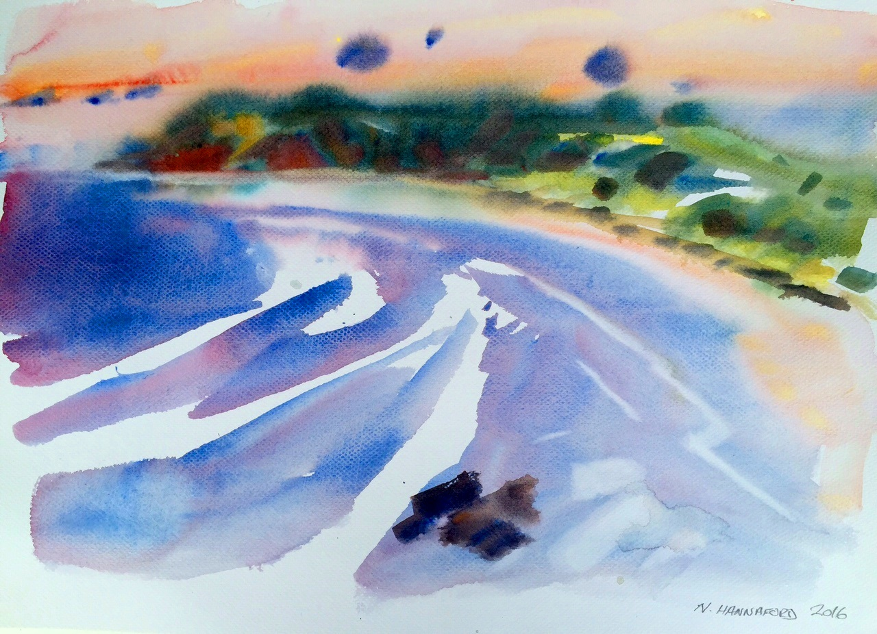 Morning bay KI, watercolour