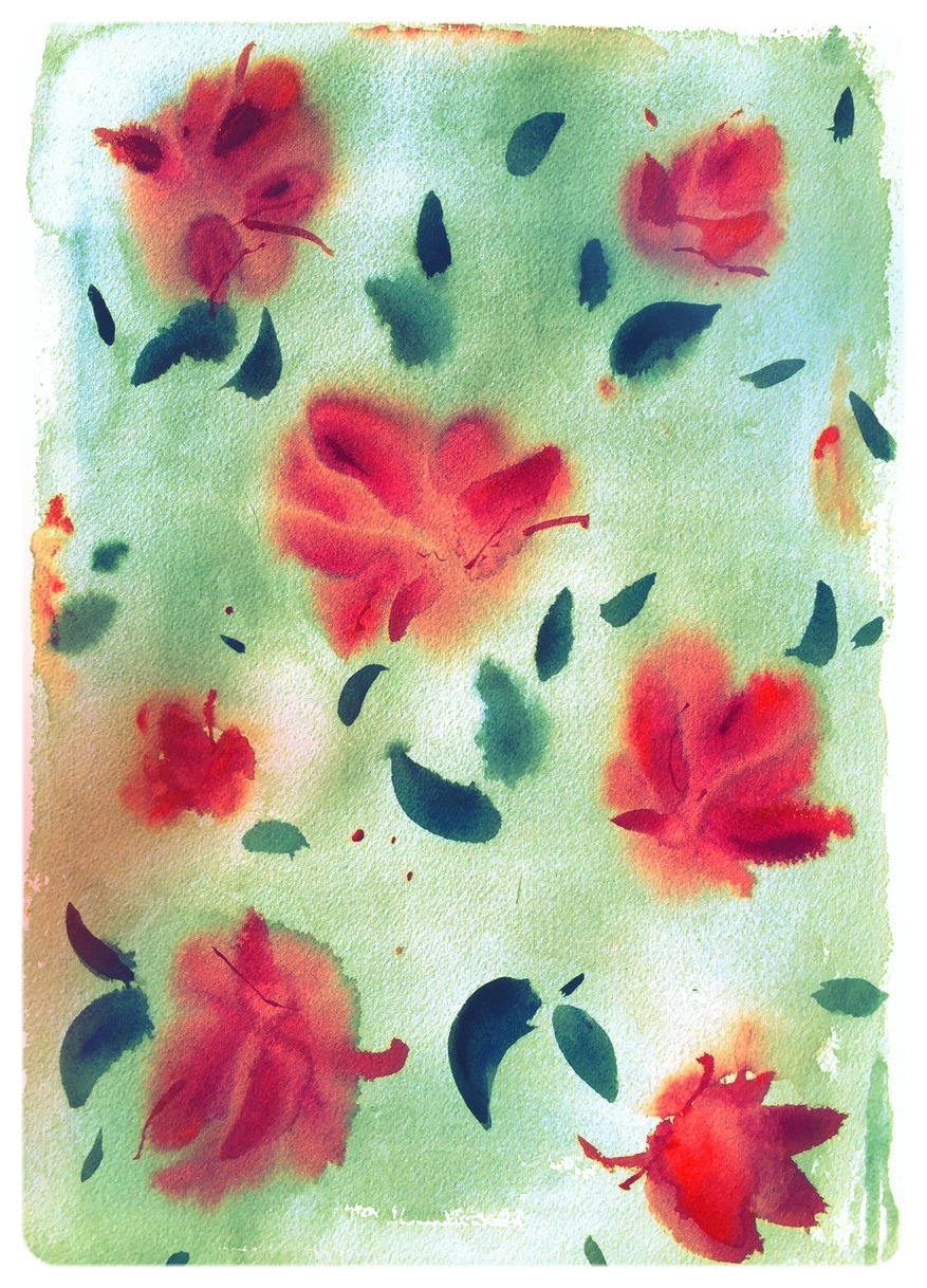 Autumn bloom, green - print