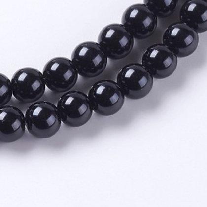 """חוט חרוזי זכוכית שחור מבריק 8 מ""""מ"""