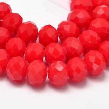 """חוט חרוזי קריסטל קטנטנים בצבע אדום 2×3 מ""""מ"""