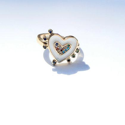 טבעת מוזהבת לב עם זירקונים