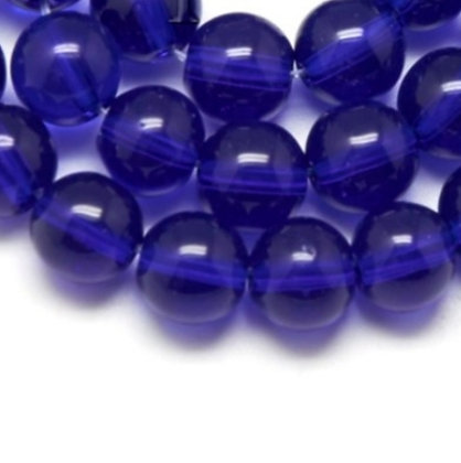"""חרוזי זכוכית כחול כהה 4 מ""""מ"""
