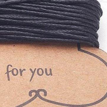 עשרה מטרים של חוט שעווה 100% כותנה בצבע שחור