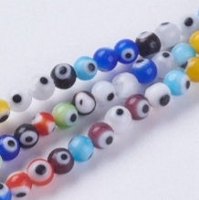 """חוט חרוזי זכוכית עיניים  צבעוניות קטנות 4 מ""""מ"""