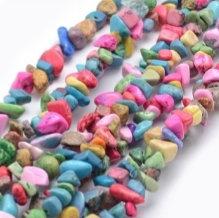 חוט חרוזי צ'יפ אבן טורקיז צבעונית