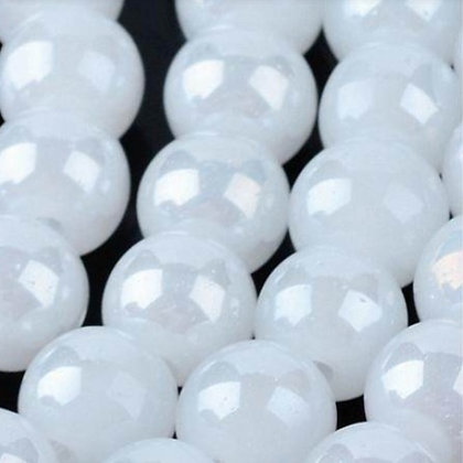 """חוט חרוזי זכוכית לבנים מבריקים 10 מ""""מ"""