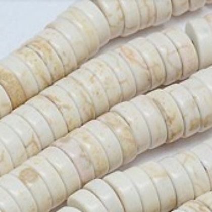 חרוזי דיסקיות טורקיז בגוון קרם - בחר גודל