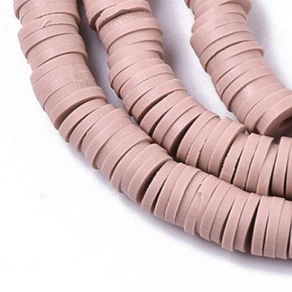 """חוט חרוזי סיליקון בצבע ורוד עתיק-חום בהיר 6 מ""""מ"""