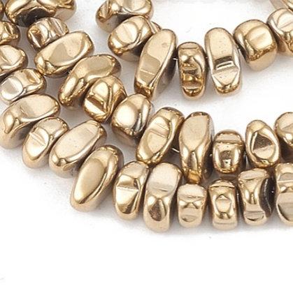חוט חרוזי צ'יפ אבן המטיט זהב כהה