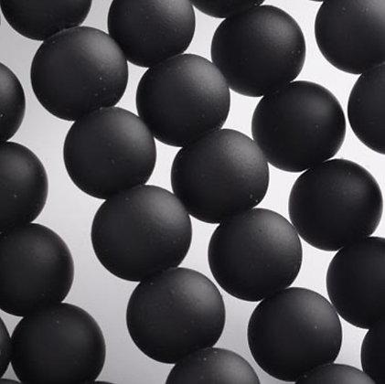"""חוט חרוזי זכוכית שחור מט 8 מ""""מ"""