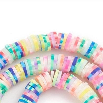 """חוט חרוזי סיליקון צבעוניים עם קווים  6 מ""""מ"""