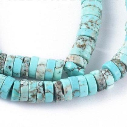 """חוט חרוזי דיסקיות אבן טורקיז טבעית 3×8 מ""""מ"""