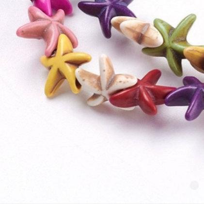 חוט חרוזי אבן טורקיז כוכבי ים - בחר צבע