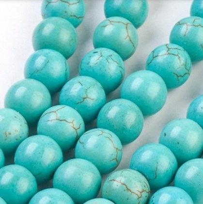 """חרוזי טורקיז בצבע טורקיז 6 מ""""מ"""