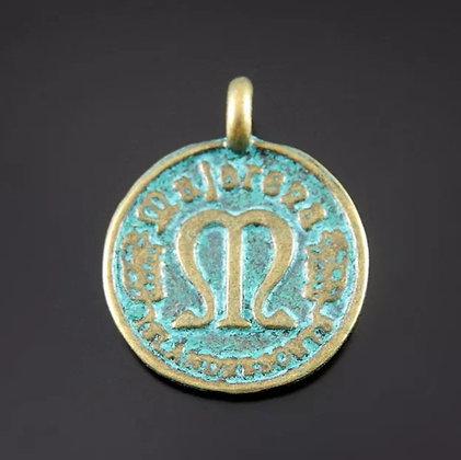 """תליון מטבע ברונזה עם טורקיז בעל מראה עתיק 22 מ""""מ"""
