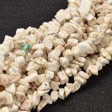 חוט חרוזי צ'יפ אבן היולייט טבעי בגוון קרם