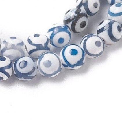 """חוט חרוזי אגת דזי, 10 מ""""מ עיניים כחולות אפורות"""