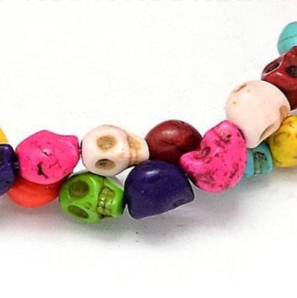 חוט חרוזי גולגלות צבעוניות דמוי אבן טורקיז