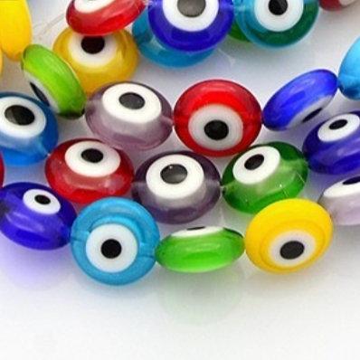 """חוט חרוזים זכוכית שטוחים 1ס""""מ עיניים צבעוניות"""