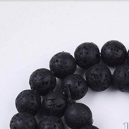 """חוט חרוזי בזלת טבעית שחורה 8 מ""""מ"""