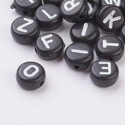 350 חרוזי אותיות עגולים שחורים