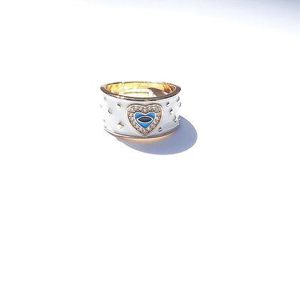 טבעת מוזהבת-לבנה עם עין וזירקונים