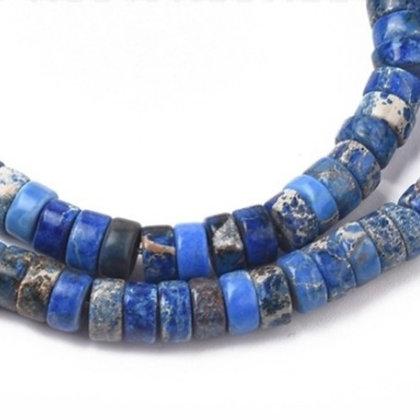 """חוט חרוזי דיסקיות אבן ג'ספר כחולה טבעית 3×6 מ""""מ"""