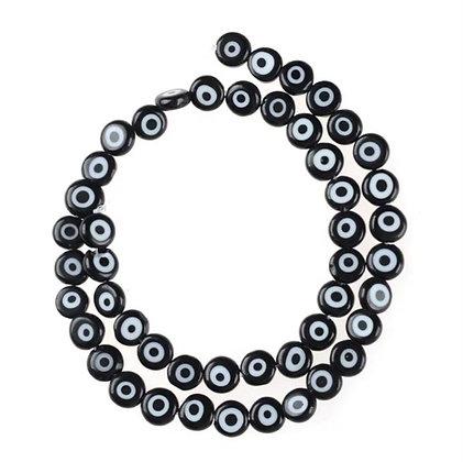 חוט חרוזי זכוכית שטוחים עיניים שחורות - בחר גודל