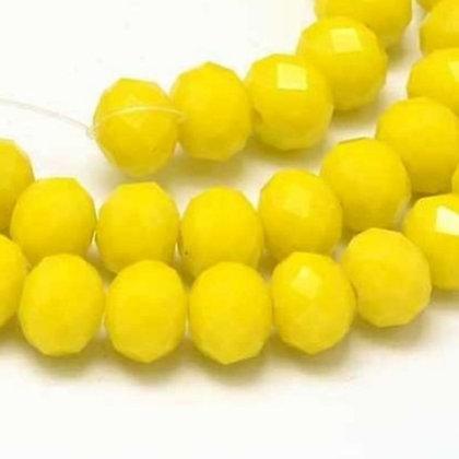 """חוט חרוזי קריסטל צהובים 8 מ""""מ"""