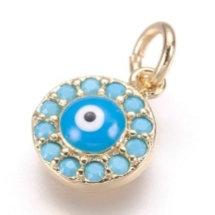 תליון מוזהב  ומשובץ עין כחולה