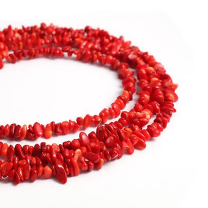 חרוזי קורל טבעי אדום