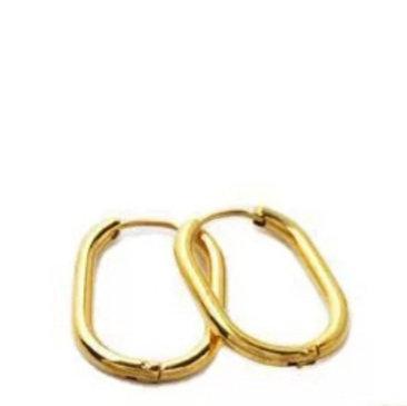 זוג עגילי חישוק אובליים בציפוי זהב אמיתי 18 קארט